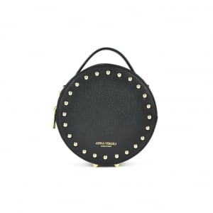 Agata Circular Leather Handbag - Black