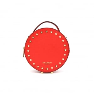 Agata Circular Leather Handbag - Red