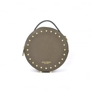 Agata Circular Leather Handbag - Taupe
