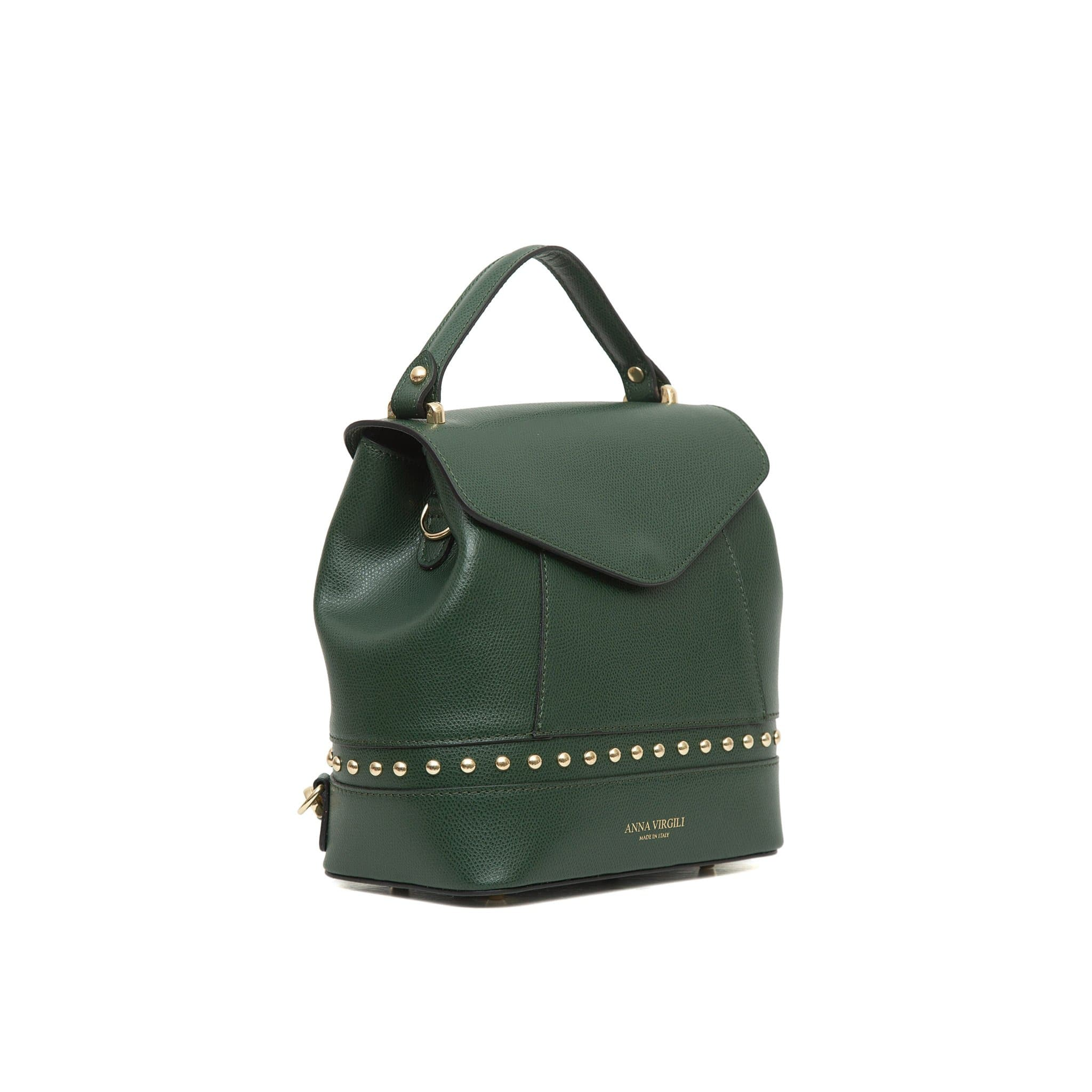 Agnese West Leather Backpack -Green