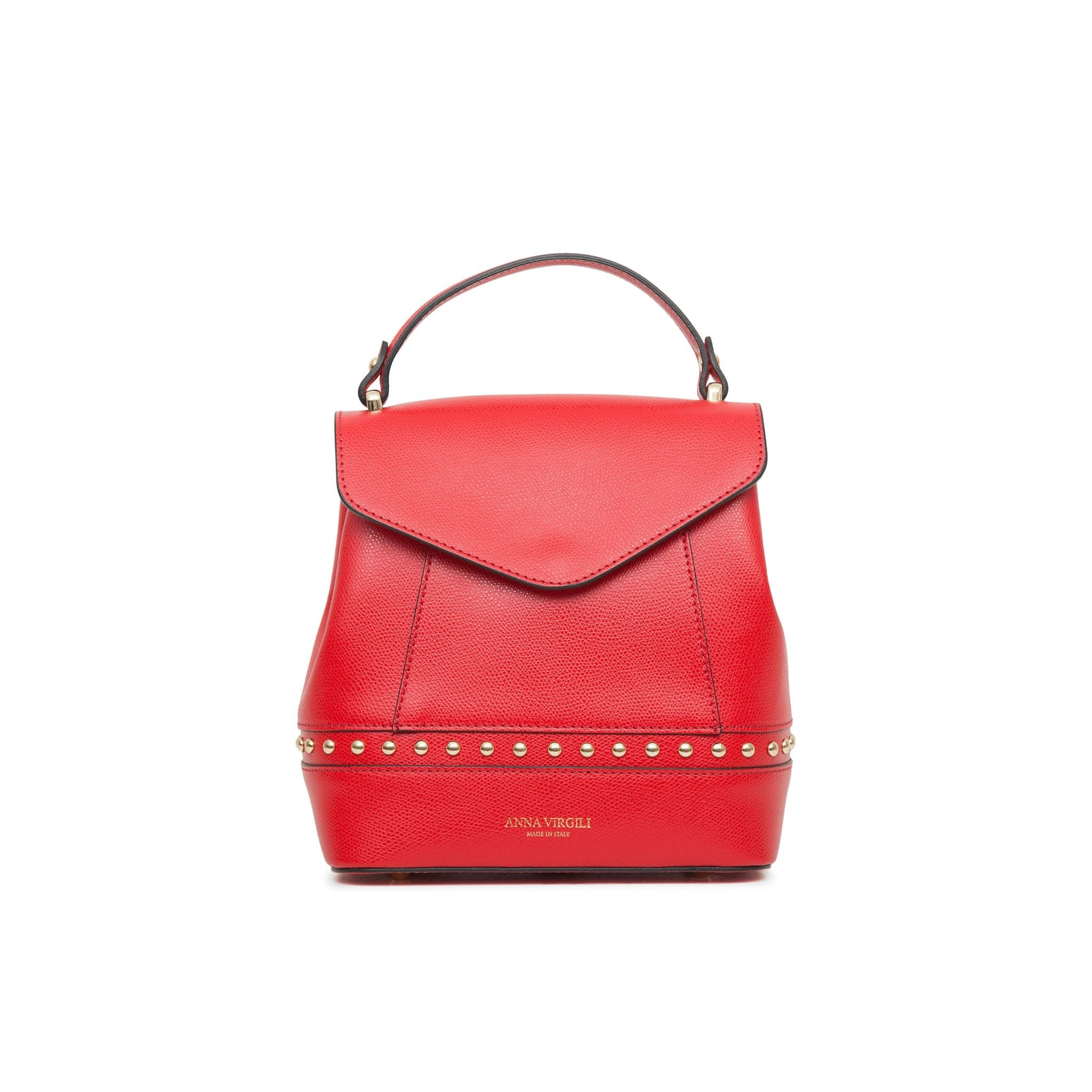 Agnese West Leather Backpack -Red