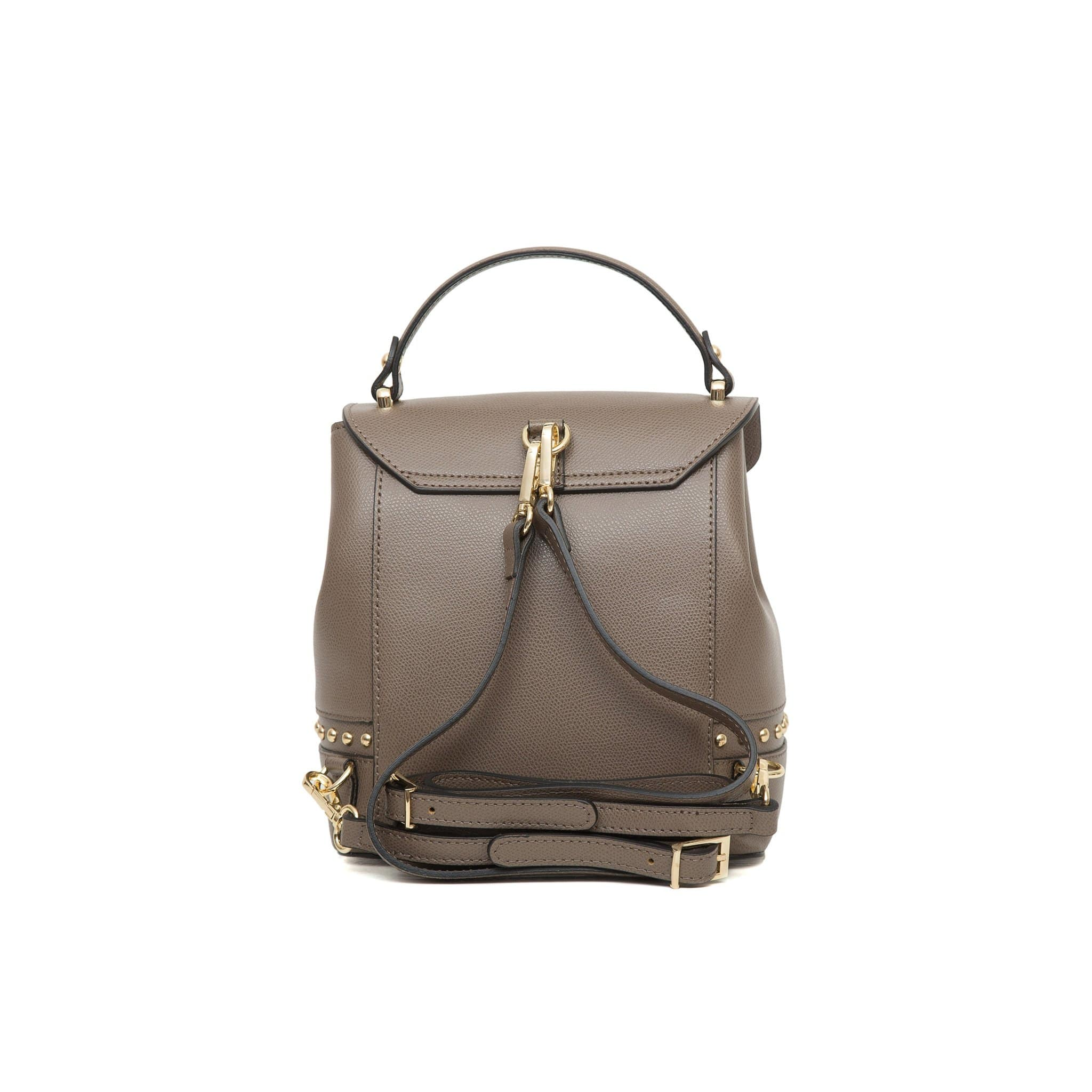 Agnese West Leather Backpack -Taupe