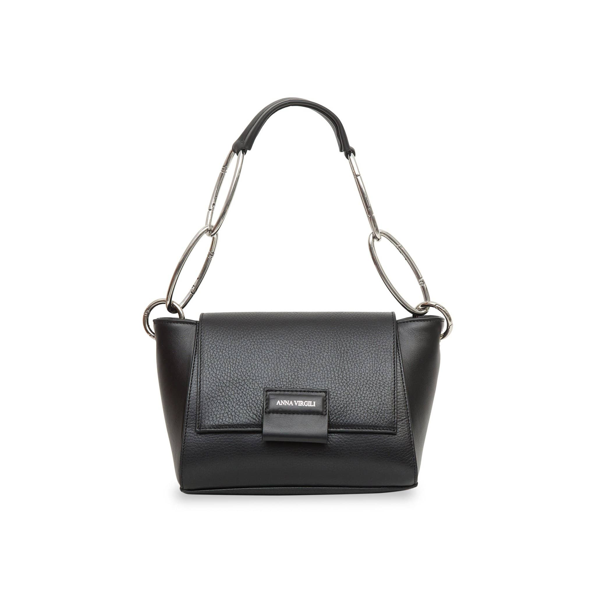Cabiria Mini Chain Leather Handbag - Black
