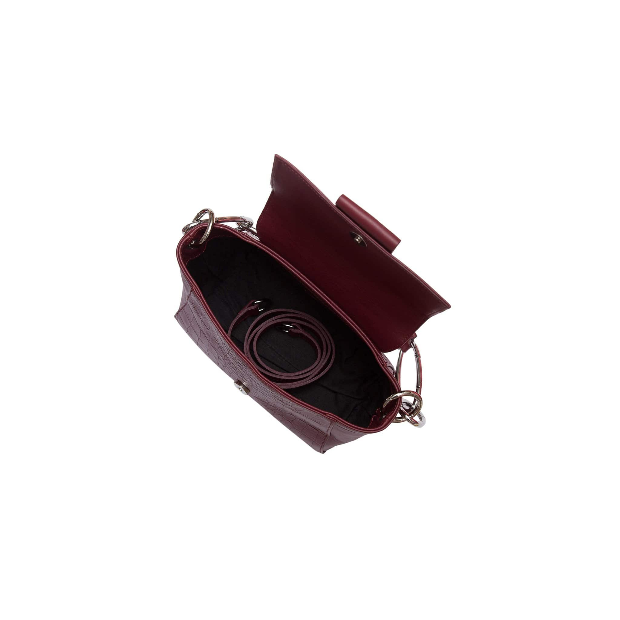 Cabiria Mini Cocco Leather Handbag -Bordeaux