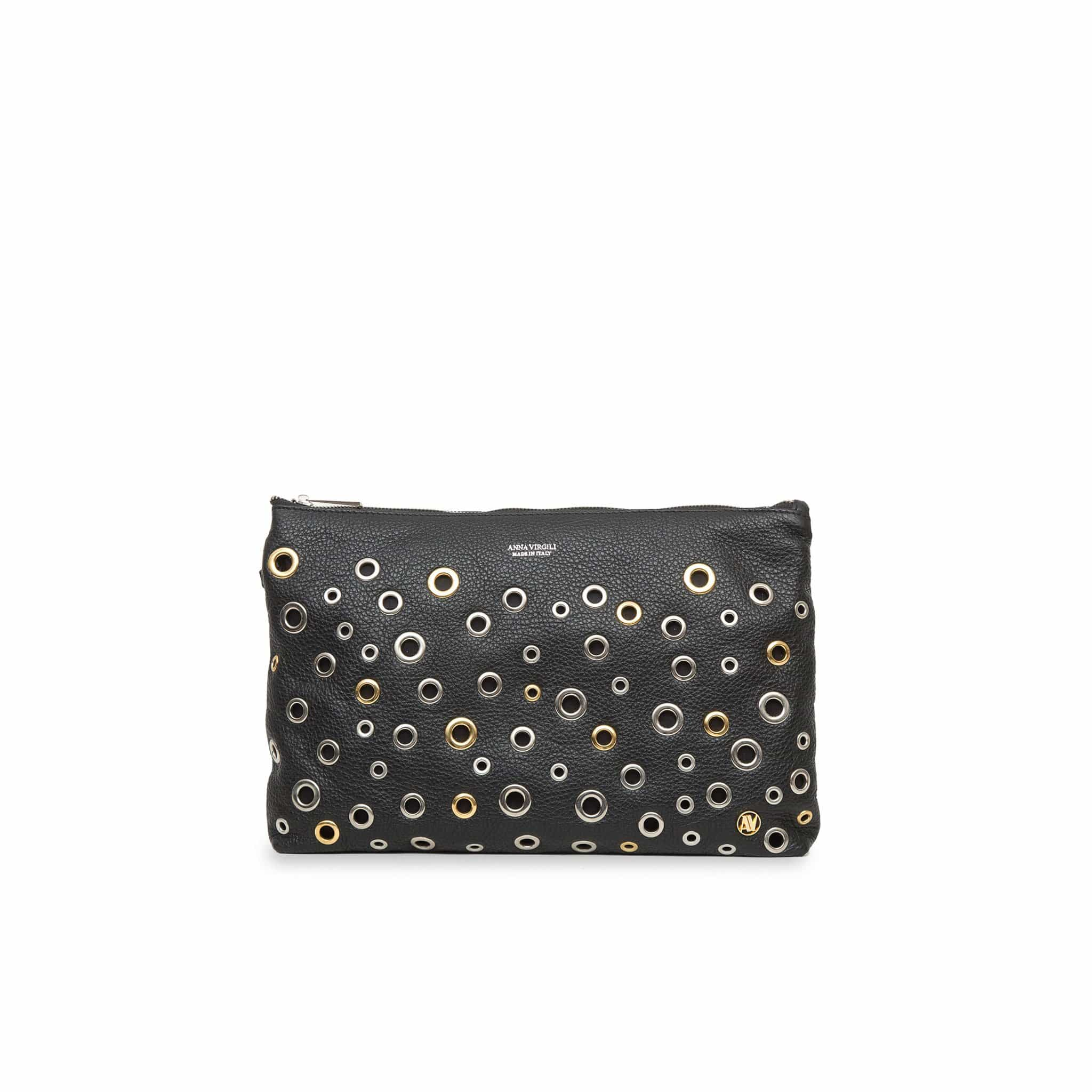 Dany Leather Rock Clutch - Black