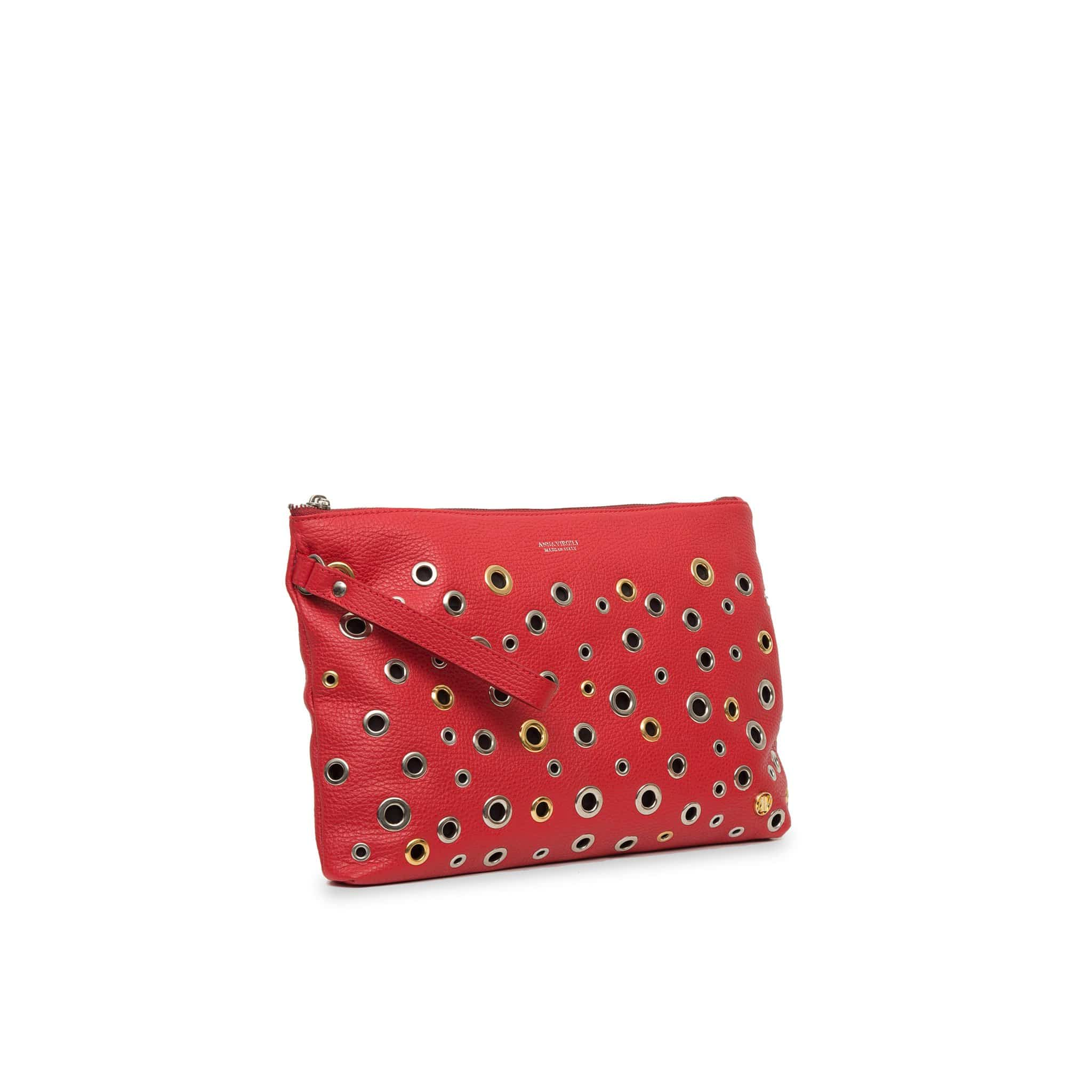 Dany Leather Rock Clutch - Red