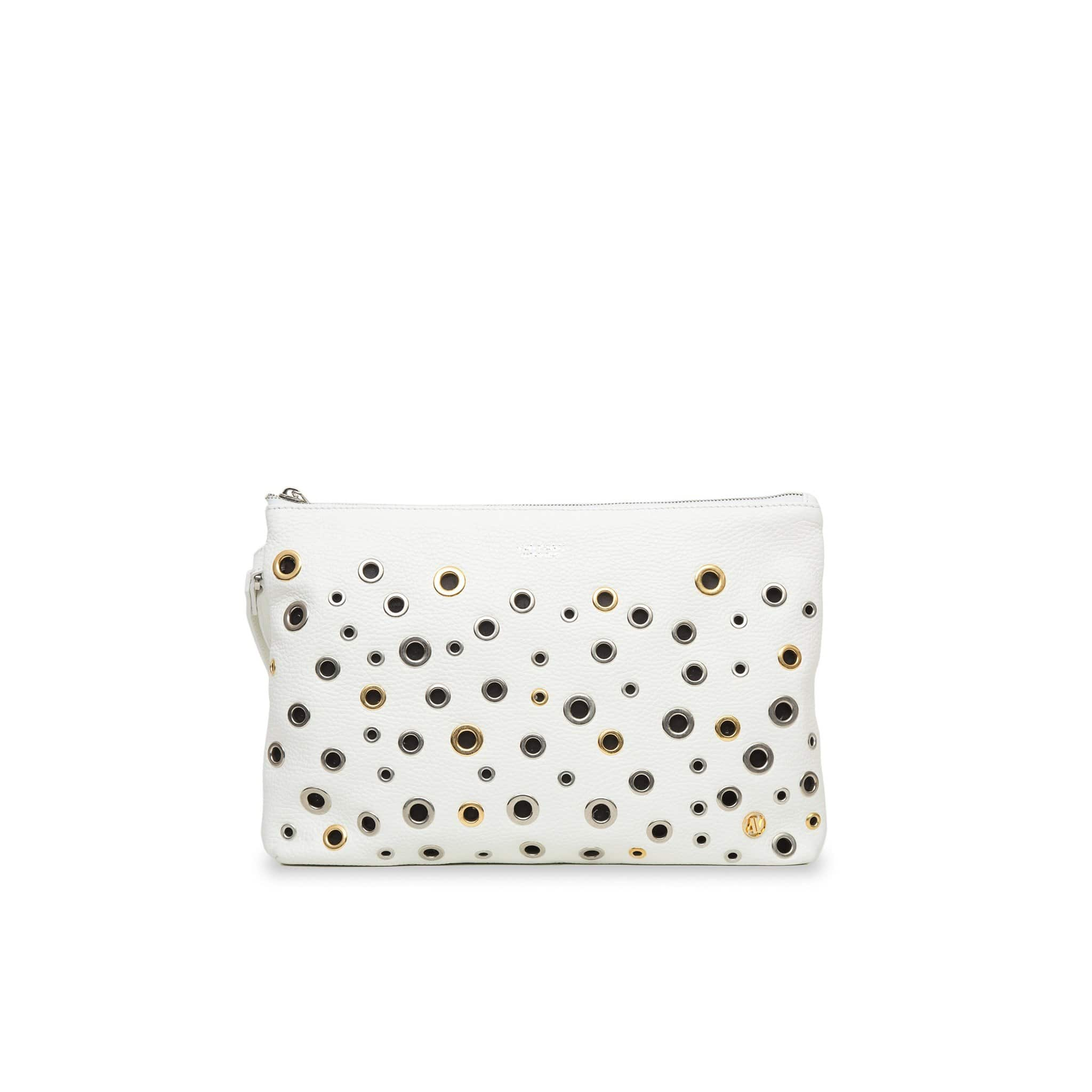 Dany Leather Rock Clutch - White