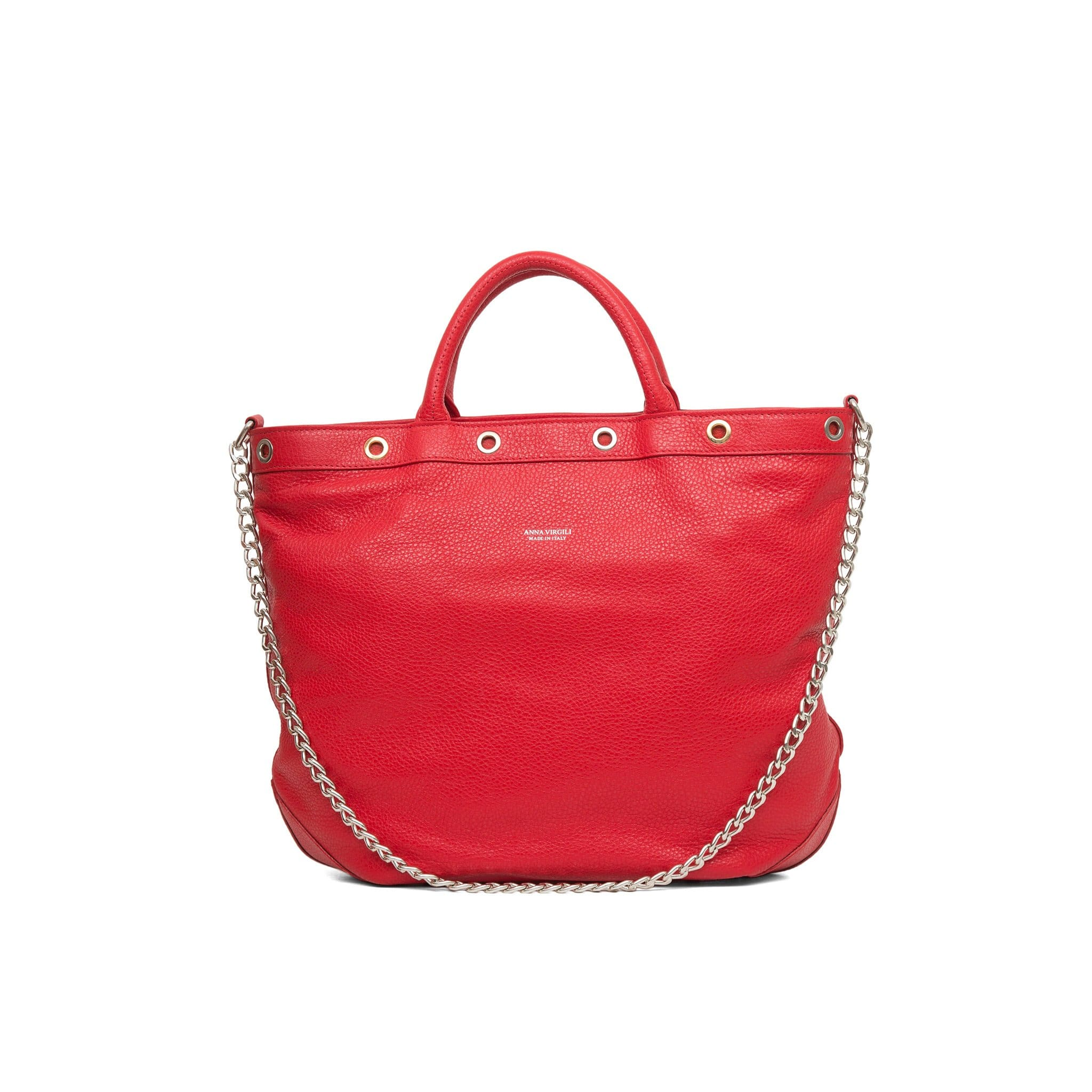Naide Rock Leather Handbag - Red