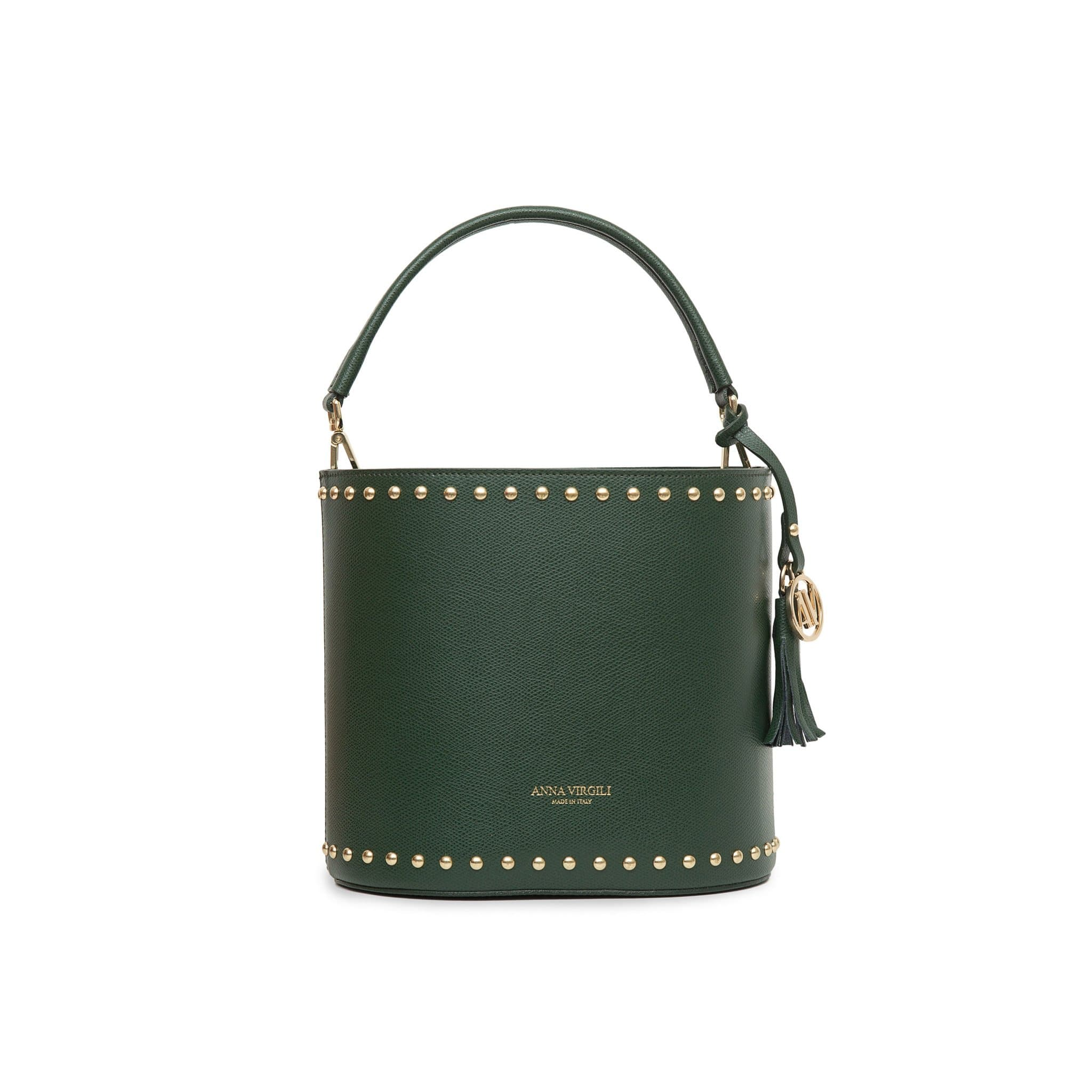 Nicole West Leather Bucket Bag -Green