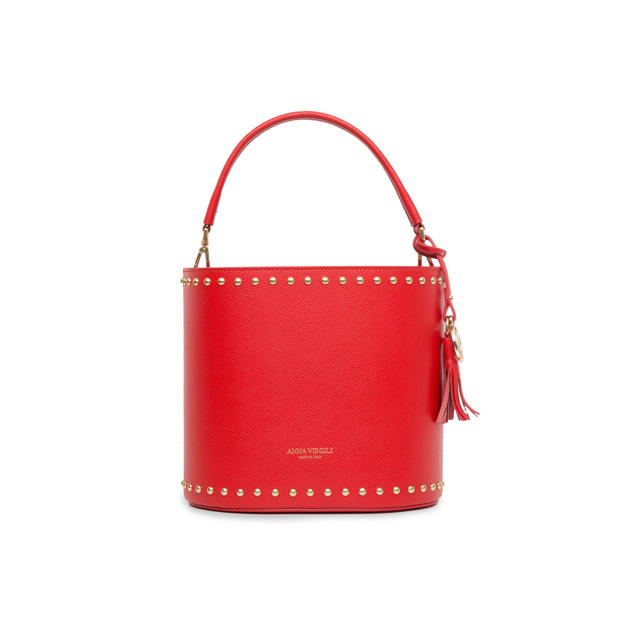 Nicole West Leather Bucket Bag -Red