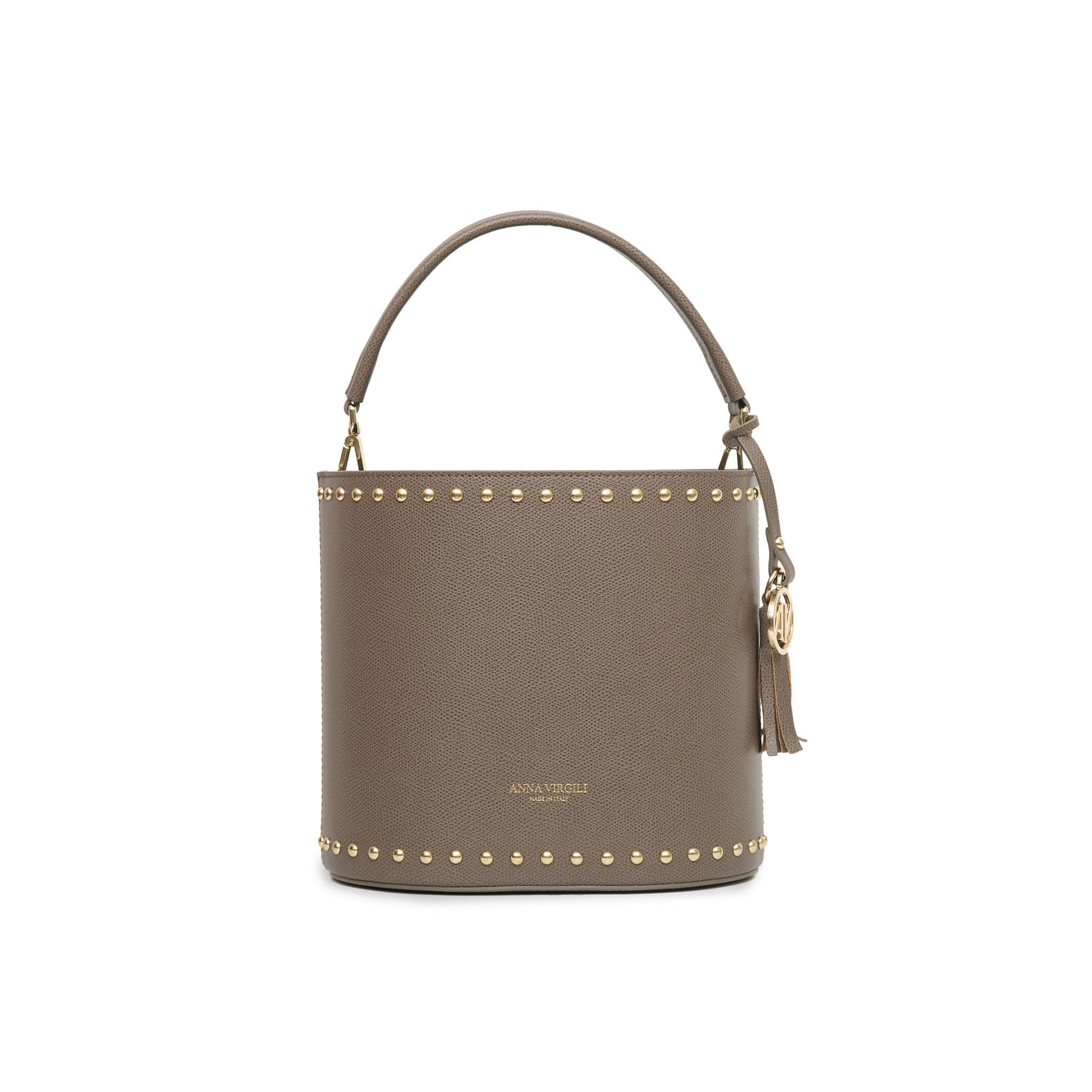 Nicole West Leather Bucket Bag -Taupe