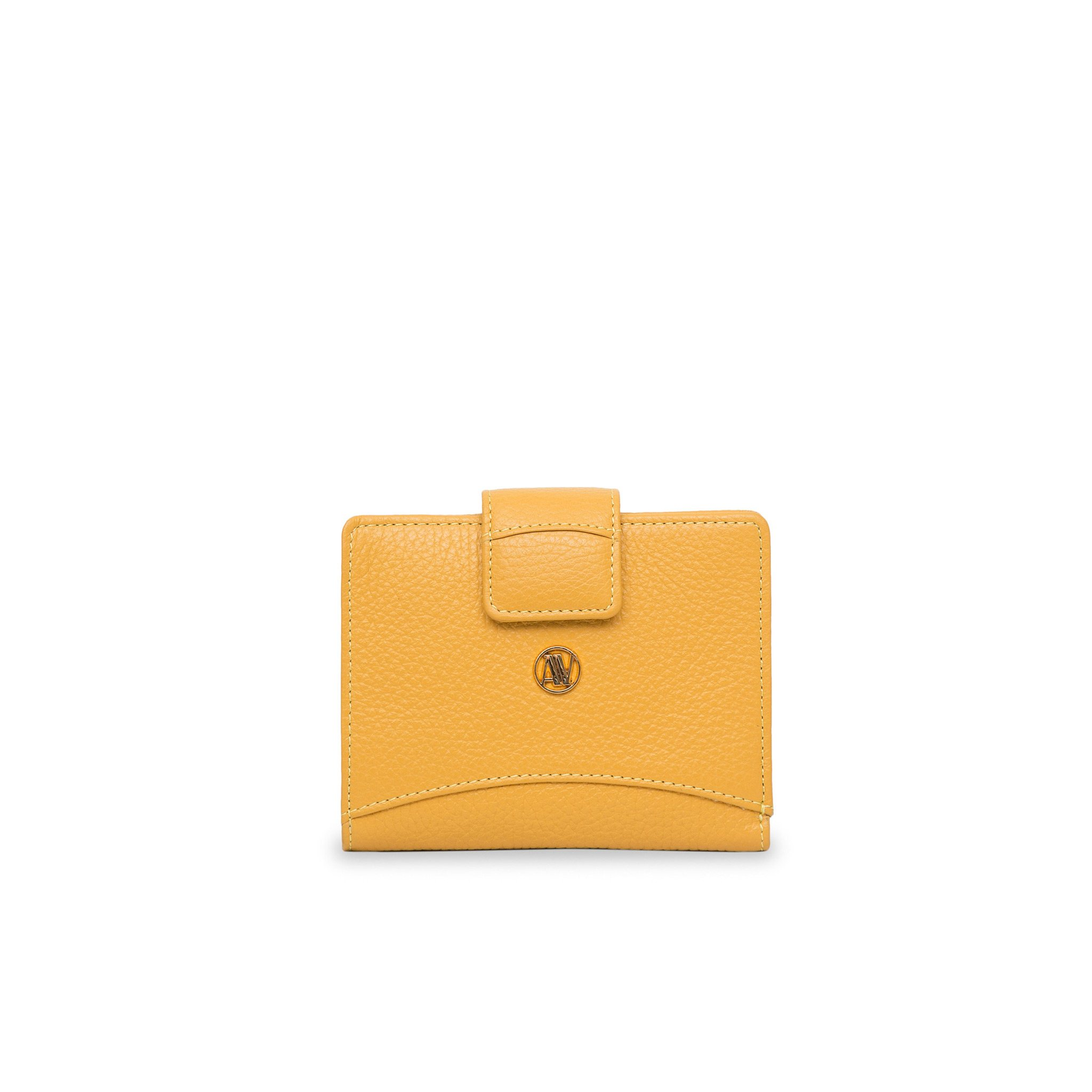 Ochre yellow small Rimini leather wallet