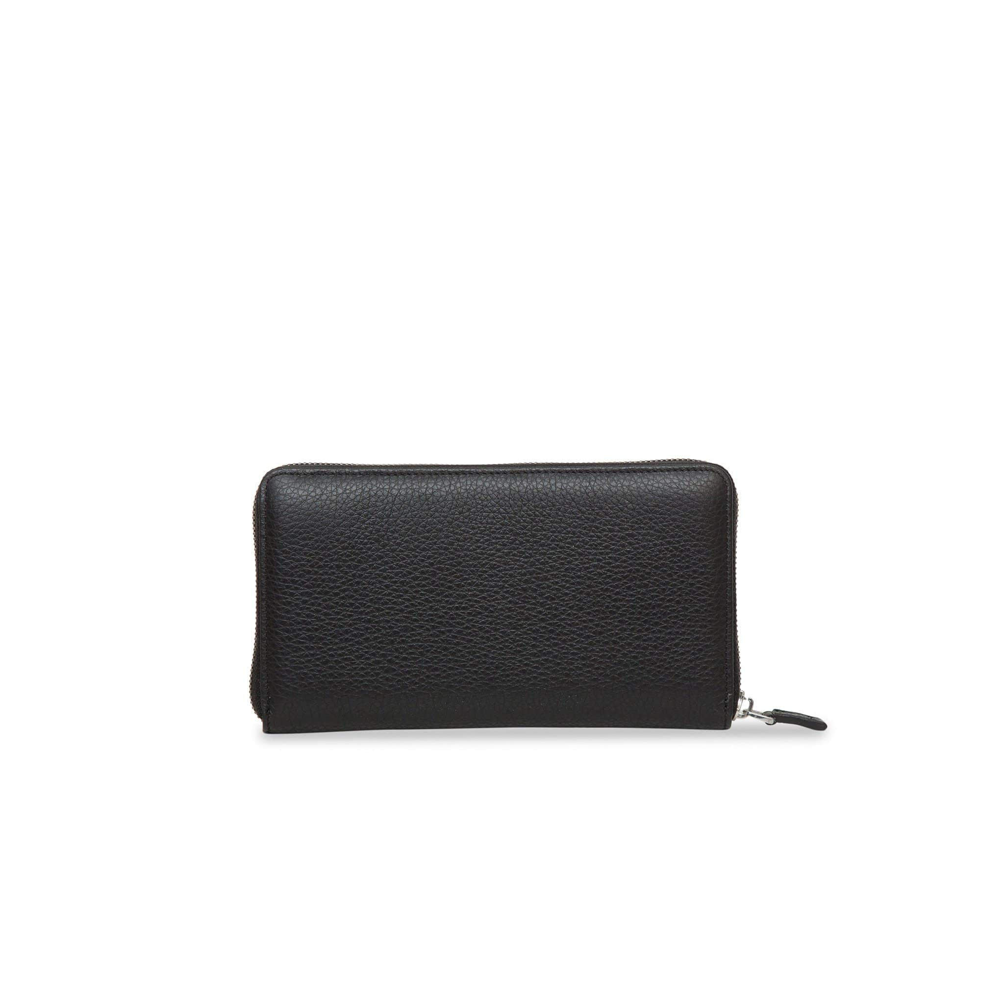 Black Zip Around leather Rock Wallet