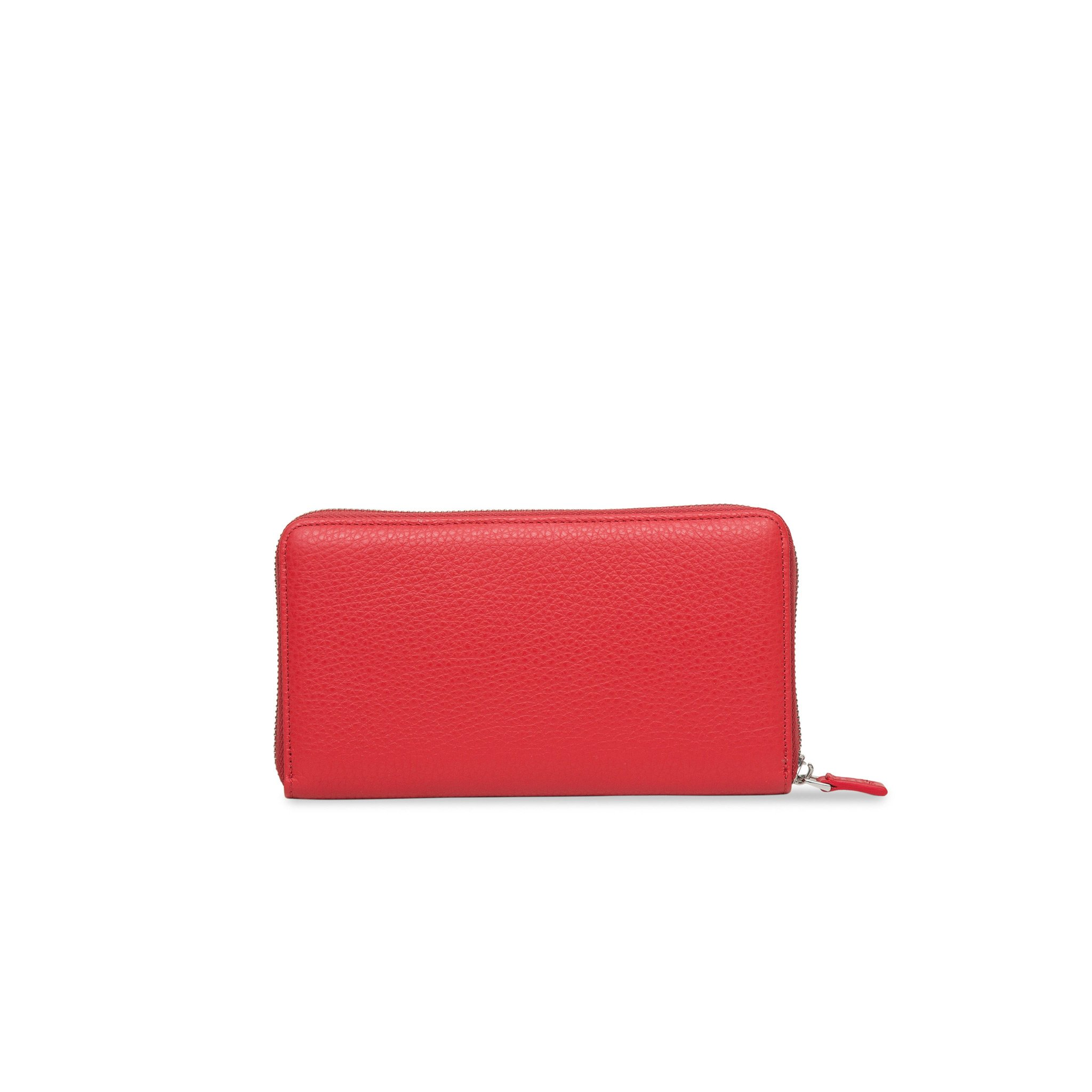 Red Zip Around leather Rock Wallet