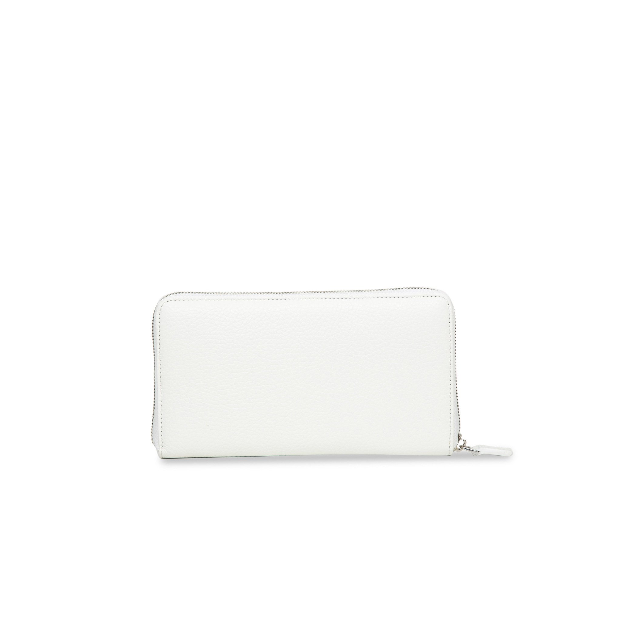 White Zip Around leather Rock Wallet